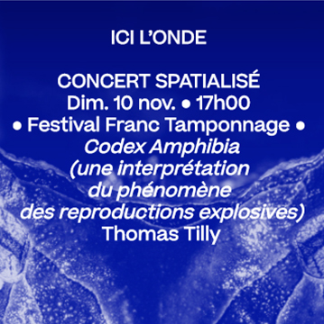 10 nov. 17h • Festival Franc Tamponnage : Codex Amphibia, Thomas Tilly